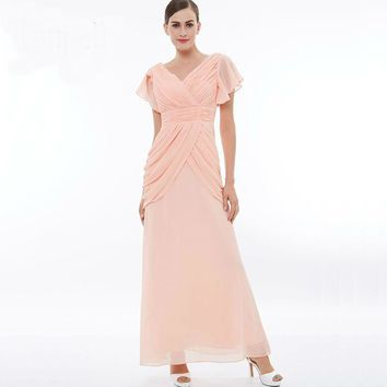 Ruched dress pink v neck short sleeves floor length a line gown lady evening  chiffon pleats long dresses