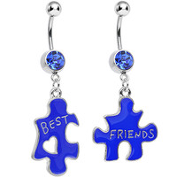 Blue Crystal Double Puzzle Piece Best Friends Dangle Belly Ring Set | Body Candy Body Jewelry