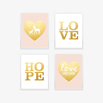 Blush Pink - Gold Baby Nursery Print  Nursery Art Woodland Nursery Art Print Baby Girl Nursery Art Deer Love Typography Girls Room Wall Art