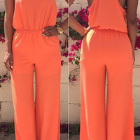 Orange Spaghetti Strap Baggy Jumpsuit