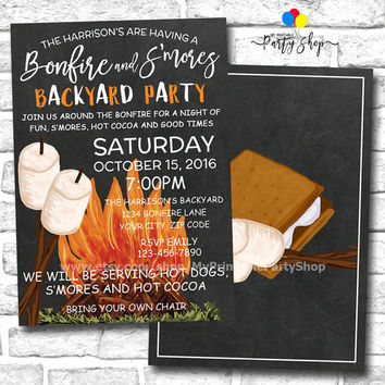 S'mores & Bonfire Party Invitation, Backyard Party Invitation, Fall Party Invitation, Autumn Party Invitation, Smores Party, Bonfire Party
