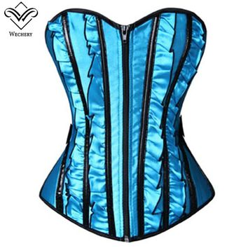 Wechery Steampunk Corset Sexy Bow Zipper Lace Up Corselet Push Up Waist Trainer Korset Striped Blue Bustiers for Posture Tops
