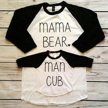 Mommy and Baby Matching Bear Letters Printed Family Shirt and Baby Rompers Set T-shirt clothes all for baby