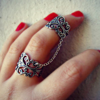 silver slave ring, armor ring connected rings, ring set, filigree ring, vintage style ring
