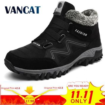 VANCAT Men Boots Winter With Fur 2018 Warm Snow Boots Men Winter Boots Work Shoes Men Footwear Fashion Rubber Ankle Shoes 39-46