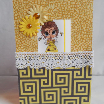 Bumblebee Window Card, Paper Handmade Greeting Card, Yellow and Black, Image Inside, Lace and Flowers, Honeycomb and Beehive