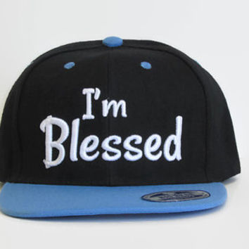 "Custom Snapback "" I'm Blessed "" Embroidered Flat Bill Hat Black/Blue Hat"