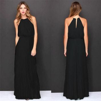 Fashion summer dress 2018 beach dress Womens Formal Chiffon Sleeveless Prom Evening Evening Party Long Maxi Dress vestido J08#N