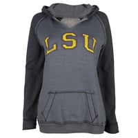 LSU Tigers - Arched Letters Juniors Relaxed Slit-Neck Hoodie