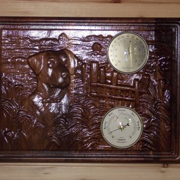 Wall Therometer - Wall Barometer - Weather Station - Wood Wall Hanging - Relief Wood Carving.