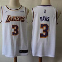 2019-2020 L.A. Lakers 3 Anthony Davis White Basketball Jersey