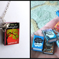 To Kill A Mockingbird - Original Cover - with Tiny Bird Charm -Micro Mini Book Necklace