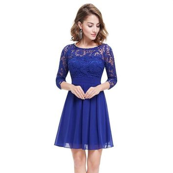 New Fashion Royal Blue Chiffon Lace Women Clothing A-Line 3/4 Sleeve Sexy Illusion Lace Casual Dress Short Hot Selling Promotion