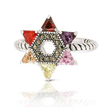 JanKuo Jewelry Rhodium Plated Multicolor Cubic Zirconia Jewish Star of David Twisted Rope Ring