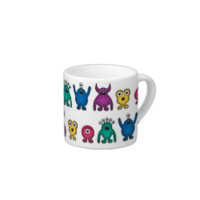 Kawaii Rainbow Alien Monsters Pattern Espresso Cups