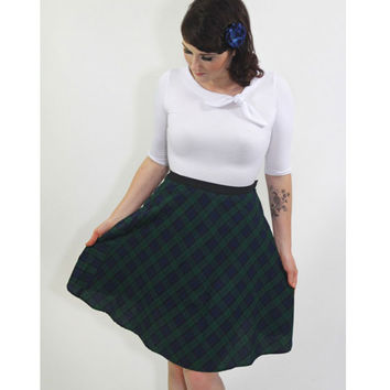 Heart of Haute Green Plaid Moxie Flair Skirt