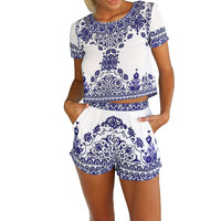 Blue and White Two Piece Cropped Top and Shorts