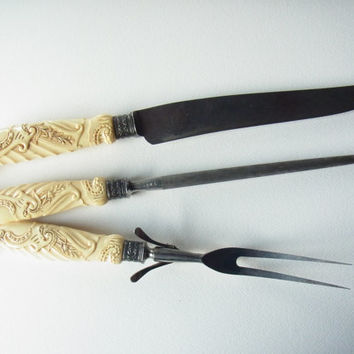 carving knife set / sterling silver / vintage / french ivory / faux ivory / Landers, Frary and Clark / knife sharpener / carving fork