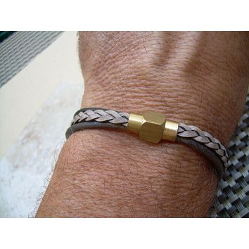 Mens Bracelets Leather with Industrial Raw Brass Magnetic Clasp,Leather Bracelet, Womens Bracelet,Industraial,Mens Jewelry,For Him