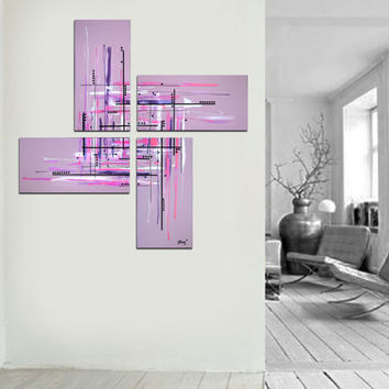 "Original abstract painting. 50x50"" 4 piece canvas art. Large painting. Lavender painting with purple, pink. Girly painting. Modern wall art"