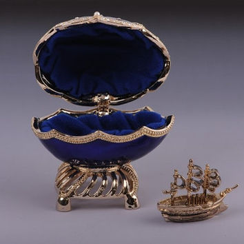Decorated  Swarovski crystals Blue & Gold Faberge Egg with Sailing Ship by Keren Kopal