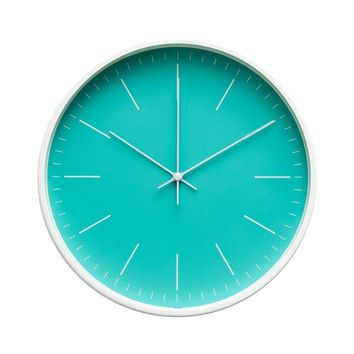 """Contemporary Interior Design Minimalist Palette 12"""" Silent Non-Ticking Sweep Wall Clock with White Gloss Frame (Aquamarine)"""