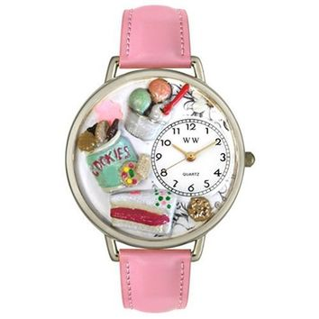 SheilaShrubs.com: Unisex Dessert Lover Pink Leather Watch U-0310014 by Whimsical Watches: Watches
