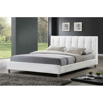 Queen size White Faux Leather Upholstered Platform Bed with Headboard