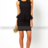 Black Sleeveless Keyhole Peplum Women Career Formal Party Pencil Dress Stretch