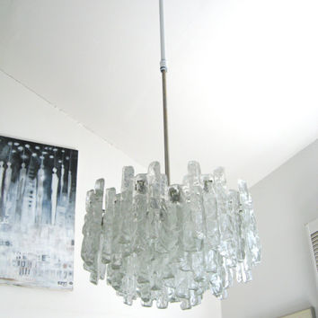 60s Mid Century MODERN Kalmar Art Glass CHANDELIER by fabulousmess