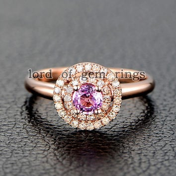Round Pink Sapphire Engagement Ring Pave VS Diamond Wedding 14K Rose Gold 4mm Double HALO