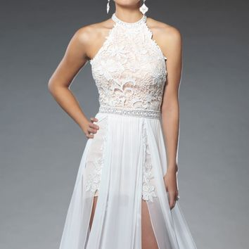 Lace Chiffon Slit Gown by Evenings by Mon Cheri