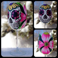 Hand painted sugar skull and dogwood flower wine glass