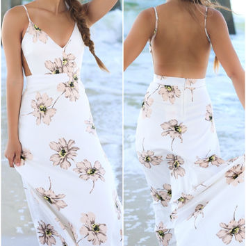 Flowers In Her Hair White Maxi
