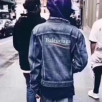 Balenciaga Casual Distressed Loose Denim Cardigan Jacket Coat