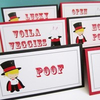 Personalized Magician and Magic Show Food Tent Cards or Place Cards