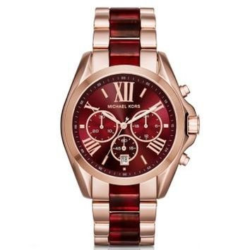 Oversize Bradshaw Rose Gold-Tone and Burgundy Acetate Watch | Michael Kors
