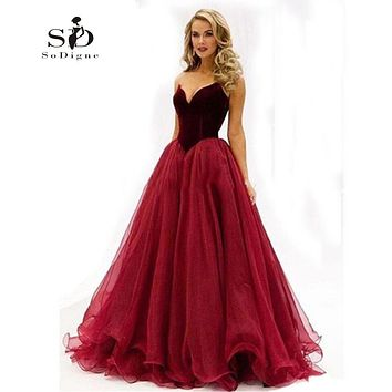 Women Dress Evening Fluffy Burgundy Sweetheart A-line Cheap Prom Party Long Dress Newest Coming Tulle Gown Graduation Dresses