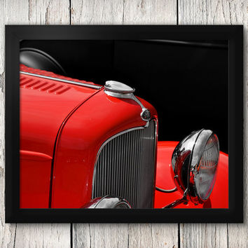 Red Ford Hot Rod Close-up - Classic Car Decor, Man Cave art - Manly Photographic Art Prints