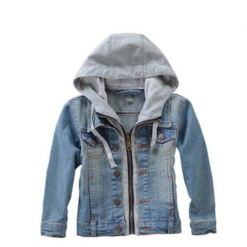 Trendy 2018 spring clothes for boys and girls denim jacket children s  clothing Cotton Kids clothes high 5ac2b8439