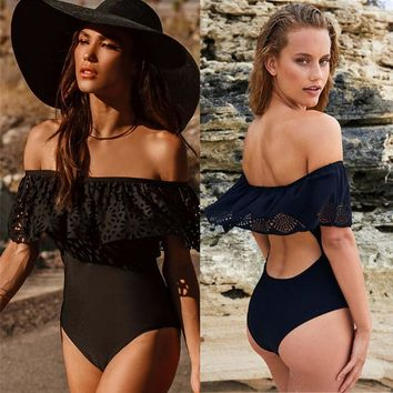 Swimwear Sexy Off The Shoulder Solid Swimwear Women One Piece Swimsuit Female Bathing Suit Ruffle Monokini Swim Wear XL