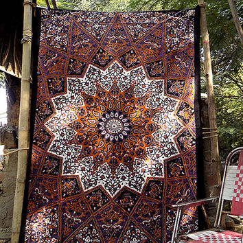 Star Cotton Fabric Psychedelic Mandala Hippie Bedspread Boho Tapestry Wall Hanging Throw Bohemian Bedding Ethnic Home Decor-FabricSarmaya