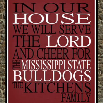 Customized Name Mississippi State Bulldogs NCAA football personalized family print poster Christian gift sports wall art - multiple sizes