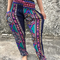Art Geometric Abstract print Trousers Yoga Pants Boho Stylish Hippies Bohem Bohemian Festival Styles Clothing Gypsy Tribal Summer Blue green