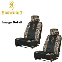 Browning Arms Company Buckmark Logo Infinity Camo Car Truck SUV Universal-Fit Seat Airbag Compatible Low Back Bucket Seat Covers with Head Rest Covers - PAIR
