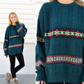 Vintage Lobo by Pendleton 100% Pure Wool Sweater Holiday Deep Green Pullover Patterned Wool Sweater Extra Large XL Oversize Grunge Jumper