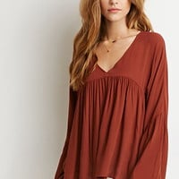Pleated Bell-Sleeve Top