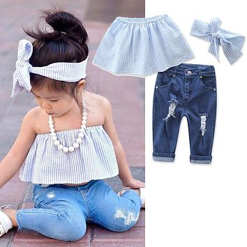 3pcs Toddler Baby Girls Kids Autumn Tank Tops+Jeans Denim Pants Outfits Set