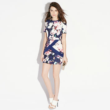 Floral Short Sleeve Back Cut-out Mini Dress