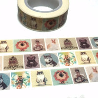 Animal washi tape 5M giraffe Siberian Husky pet cat owl lion rabbit washi tape cute animal planner sticker tape animal themed decor gift
